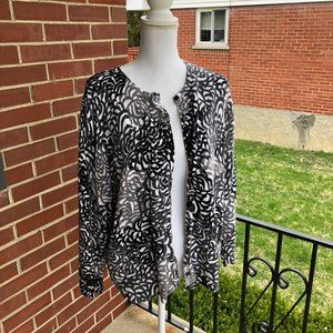 Button Down Cardigan Spring Print Plus Size